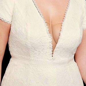 Illusion vneck cap sleeve plus size wedding dress